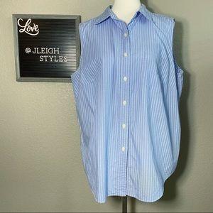 Light Blue White Stripe Sleeveless Button Up Top